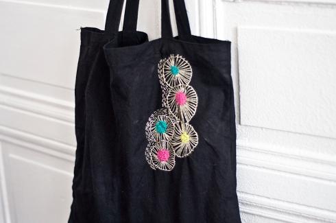 broderie customiser un sac en toile bohemian society girl. Black Bedroom Furniture Sets. Home Design Ideas